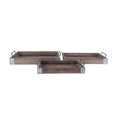 Set 3 cajas de madera con asas | Serie Dish