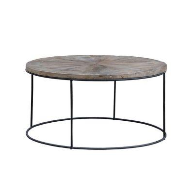 Mesa de centro de madera de olmo reciclado y hierro (90 × 90 × 45) | Serie Nege