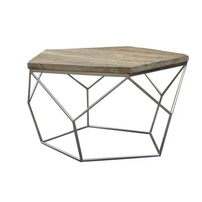 Mesa de centro de madera de olmo reciclado y acero (80 x 80 x 42) | Serie Gype