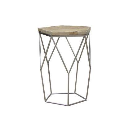 Mesa auxiliar de madera de olmo reciclado y acero (50 x 50 x 59) | Serie Gype