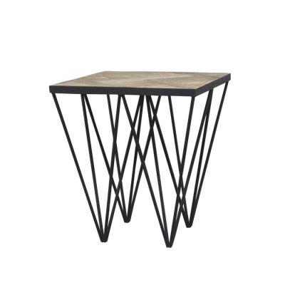 Mesa auxiliar de madera de olmo reciclado y hierro (50 x 50 x 55) | Serie Sax