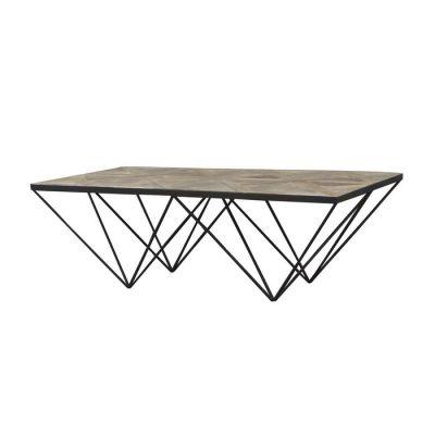 Mesa de centro de madera de olmo reciclado y hierro (130 x 70 x 42) | Serie Sax