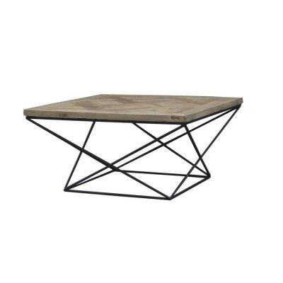 Mesa de centro de madera de olmo reciclado y hierro (80 x 80 x 42) | Serie Sax