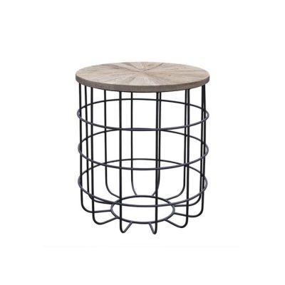 Mesa auxiliar de madera de olmo reciclado y hierro (50 x 50 x 60) | Serie Sax
