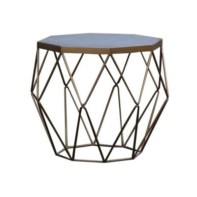 Mesa auxiliar de madera efecto cemento y acero (60 x 60 x 55) | Serie Subor