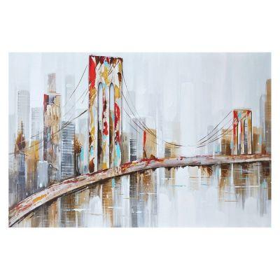 Cuadro paisaje urbano con puente (120 x 80 cm) | Serie Urbano