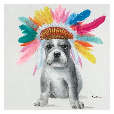 Cuadro perro plumas (60 x 60 cm) | Serie Animales