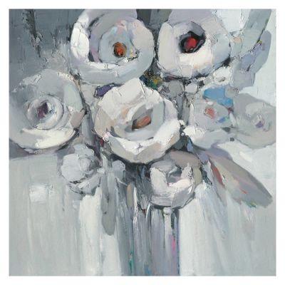 Cuadro flores blanco y negro (100 x 100 cm) | Serie Abstracto