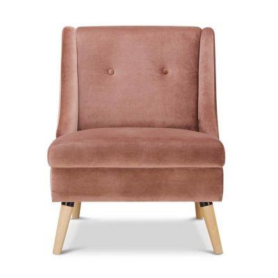 Sillón tapizado rosa (68 x 78 x 84 cm) | Serie Rogar