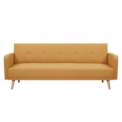 Sofá cama con brazos tapizado en mostaza (208 x 86 x 81cm) | Serie Hamilgon