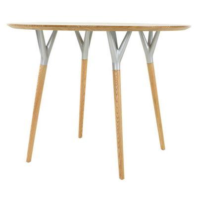 Mesa de comedor redonda. Madera de haya y metal (100 x 75 cm) | Serie Crijuan