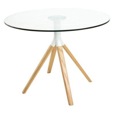 Mesa de comedor redonda. Madera de haya y tapa de cristal (100 x 75 cm) | Serie BE2
