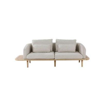 Sofá con brazos y estructura de madera de fresno (249 x 80 x 75 cm) | Serie Lezquer