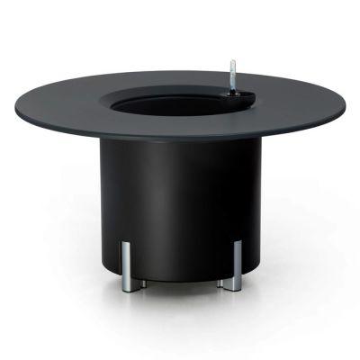 KIT Mediterráneo 45RN | Jardinera modular redonda negra 45h patas aluminio + mesa redonda negra + cubitera redonda negra