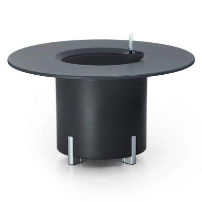 KIT Mediterráneo 45RA | Jardinera modular redonda antracita 45h patas aluminio + mesa redonda antracita+ cubitera redonda blanca