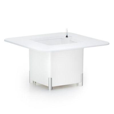 KIT Mediterráneo 45CB | Jardinera modular cuadrada blanca 45h patas aluminio + mesa cuadrada blanca + cubitera cuadrada blanca