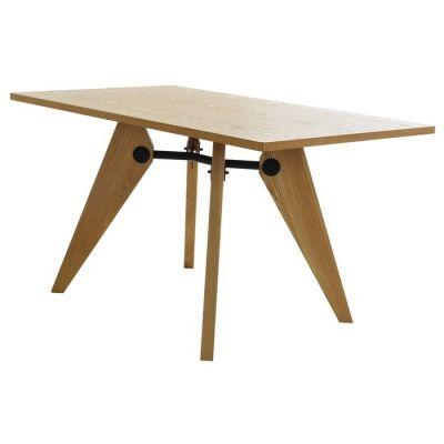 Mesa de comedor en madera de fresno natural y metal (130 x 80 x 73 cm) | Serie VEGA