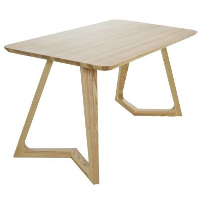 Mesa de comedor en madera de fresno natural (150 x 80 x 75 cm) | Serie VICO